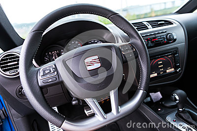 SEAT LEON CUPRA 2.0T Steering wheel Editorial Photography