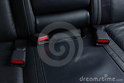 Seatbelt buckles on a car seat