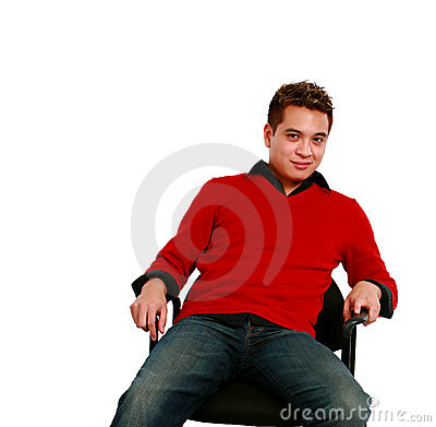 Seated asian adult man