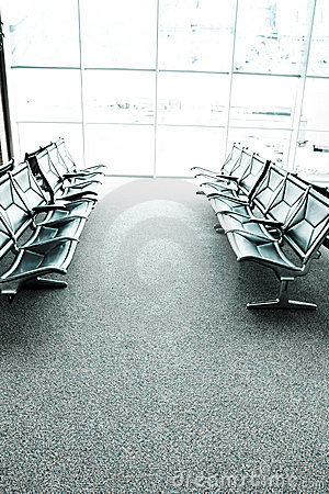 Seats in an airport waiting room or lounge