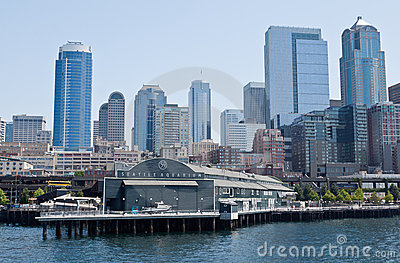 Seattle Aquarium and Downtown Editorial Photo
