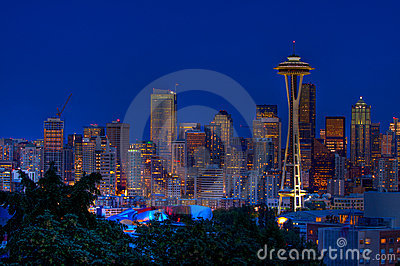 Seattle city night skyline
