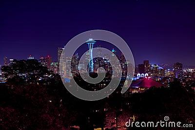 Seattle city night skyline