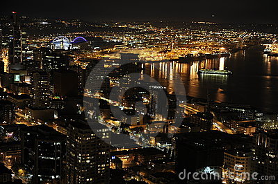Seattle City, Seaside Night View Editorial Stock Image