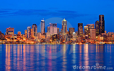 Seattle city skyline at night