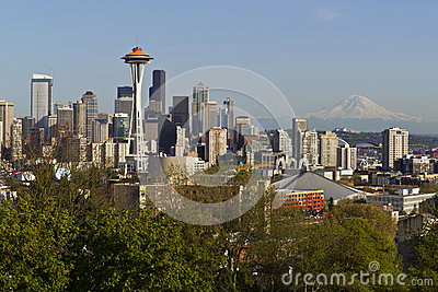 Seattle City Skyline in Spring Time