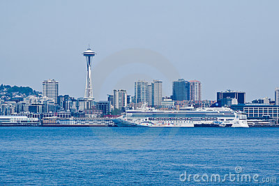 Seattle Cityscape and Transatlantic Editorial Stock Photo