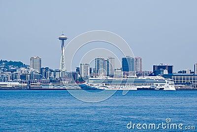 Seattle Cityscape and Transatlantic Editorial Stock Photo