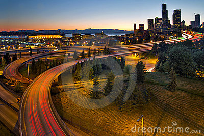 Seattle Downtown Highway Traffic Light Trails