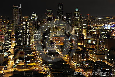 Seattle Downtown, Night View Editorial Stock Photo