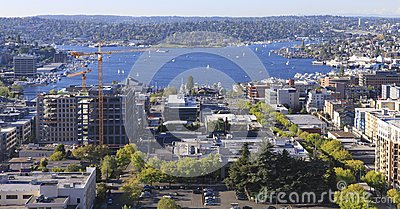 Seattle downtown, South Lake Union areal view from Virginia.
