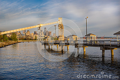 Seattle fishing pier at sunset stock photo image 40281198 for Seattle fishing pier