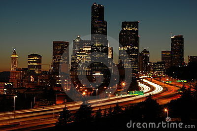 Seattle I-5 At Night