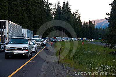 SEATTLE - JULY 6: Traffic is stopped for miles as Editorial Stock Photo