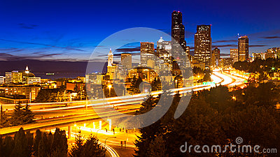 Seattle Night City Skyline