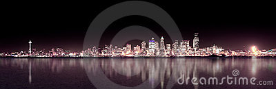 Seattle Purple Night Panoramic