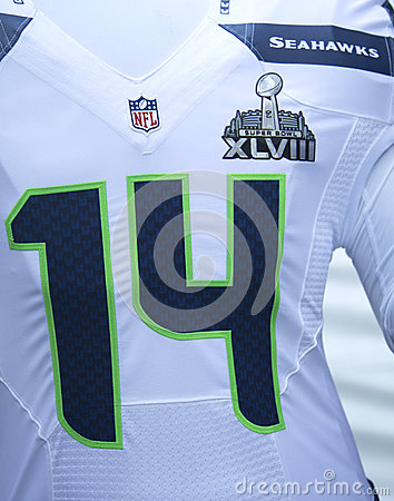 Seattle Seahawks team uniform with Super Bowl XLVIII logo presented during Super Bowl XLVIII week in Manhattan Editorial Stock Image