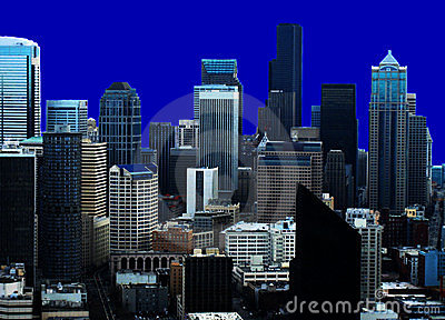 Seattle Skyline Blue Back