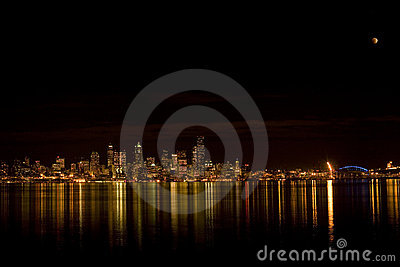 Seattle skyline with eclipse