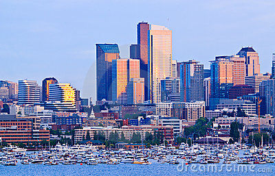 Seattle skyline on Lake Union during sunset Editorial Stock Image