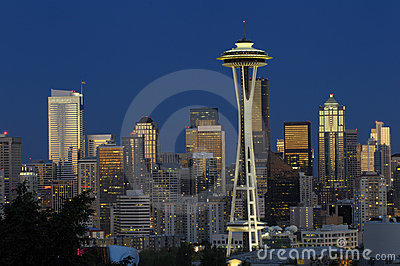 Seattle skyline at night Editorial Image