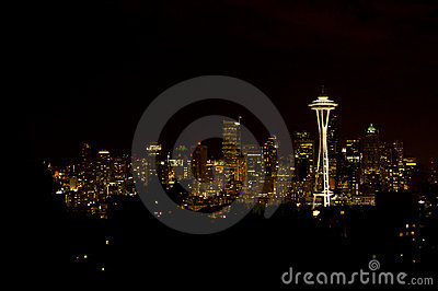 Seattle Skyline at night Editorial Stock Photo
