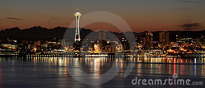 Seattle Skyline at Night by the Pier Panorama