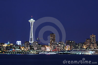 Seattle skyline at twilight