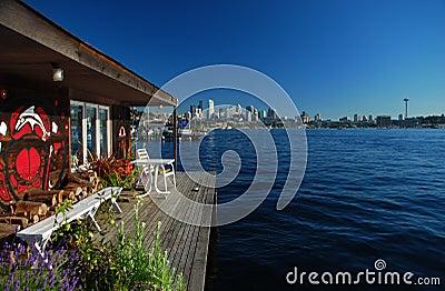 Seattle, Washington. City skyline from Union Lake