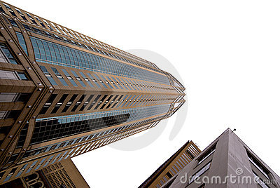 Seattle skyscrapers on white