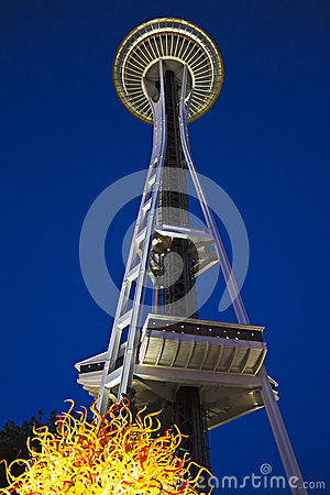 Seattle Space Needle with Chihuly glass Editorial Photo