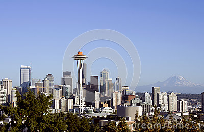 Seattle with space needle and mount Rainier