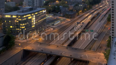 Seattle Sunrise Interstate Traffic stock footage