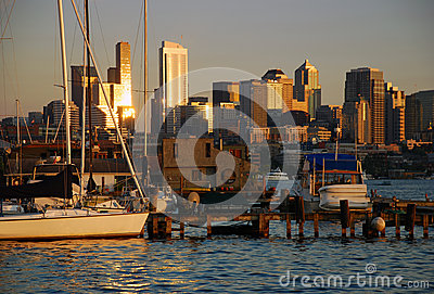 Seattle, Washington, USA. Skyline at sunset