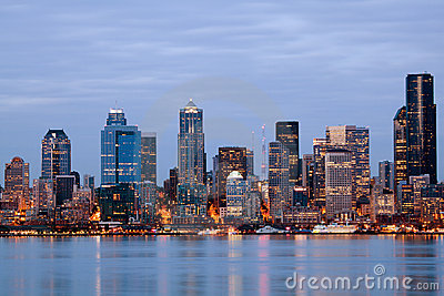 Seattle Washington skyline at twilight