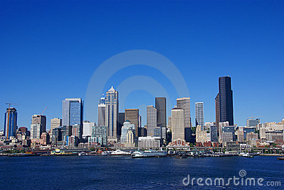 Seattle waterfront skyline,with ferry
