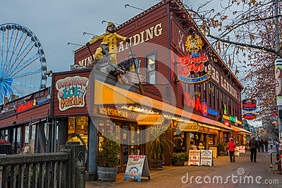 Seattle Waterfront Tourist Nightlife Editorial Photography