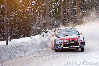 Sebastien Loeb - Rally Sweden 2010 Editorial Stock Photo