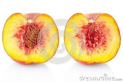 Sección de la fruta del melocotón