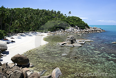 Secluded tropical beach koh samui thailand