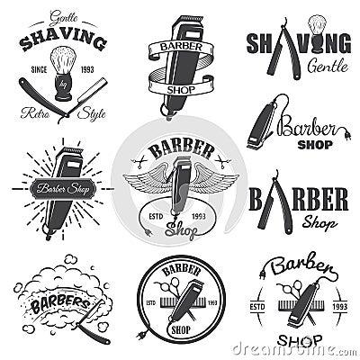 Free Second Set Of Vintage Barber Shop Emblems. Stock Photos - 48783713
