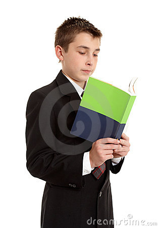 Secondary school student reading