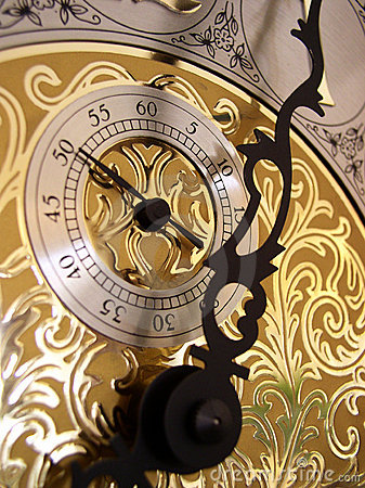The seconds timer on a grandfather clock