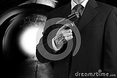 Secret spy agent with a gun
