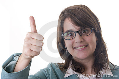 Secretary or business woman doing the thumbs up signal with her