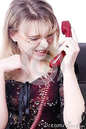 secretary screaming in telephone