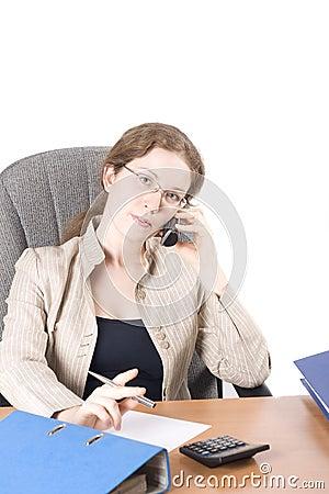 The secretary speaks on phone