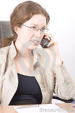 The secretary speaks on phone V