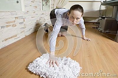 Secretary washing the floor in office