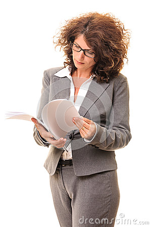Secretary woman searching file sheets